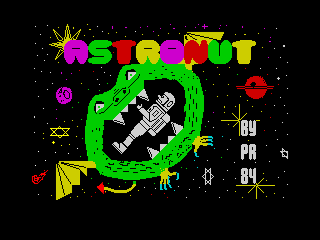 The loading screen to Astronut on the ZX Spectrum, published by Software Projects. An astronaut is trapped within the jaws of a flying green alien, in space. It's all quite cartoony and silly! The alien has big fangs, dragon wings and a little pointy devil tail.