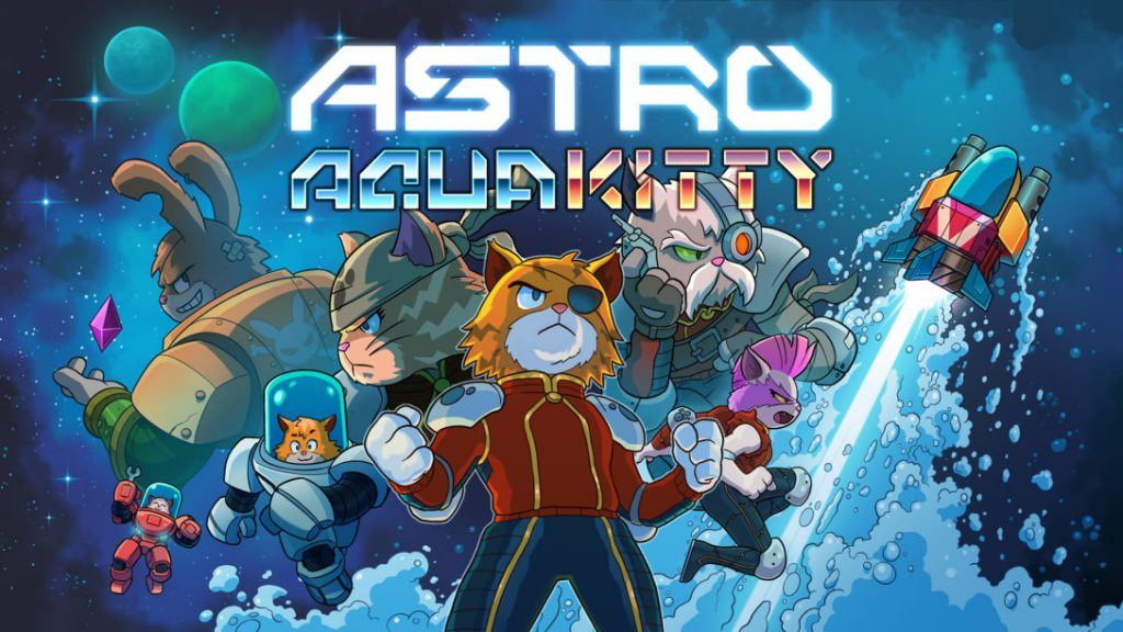 Box art for Astro Aqua Kitty. A bunch of cats pose in various heroic positions. Oh, and there' a rabbit, I think?