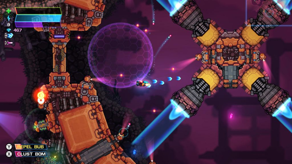 The player is inside a giant mechanical boss. A purple sphere sits behind the player.
