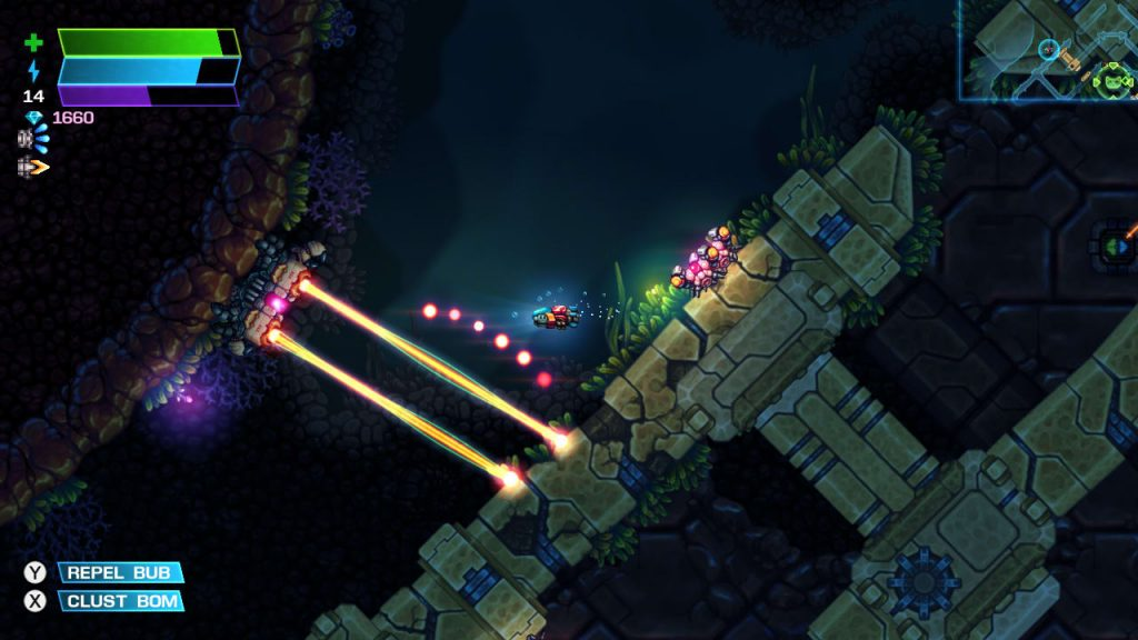 Lasers! It's the player in a darkened underwater cavern, their route through blocked by lasers.