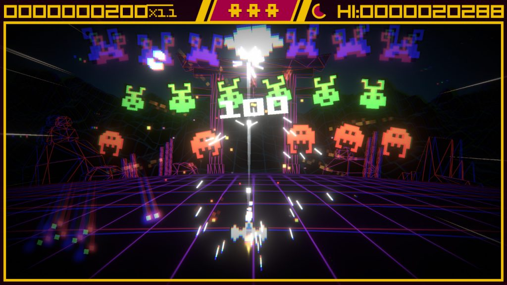 A chaotic scene from Super Destronaut DX2, amidst a shaking screen and chromatic aberration, the player's spacecraft destroys one of an incoming wave of colourful glowing enemies.
