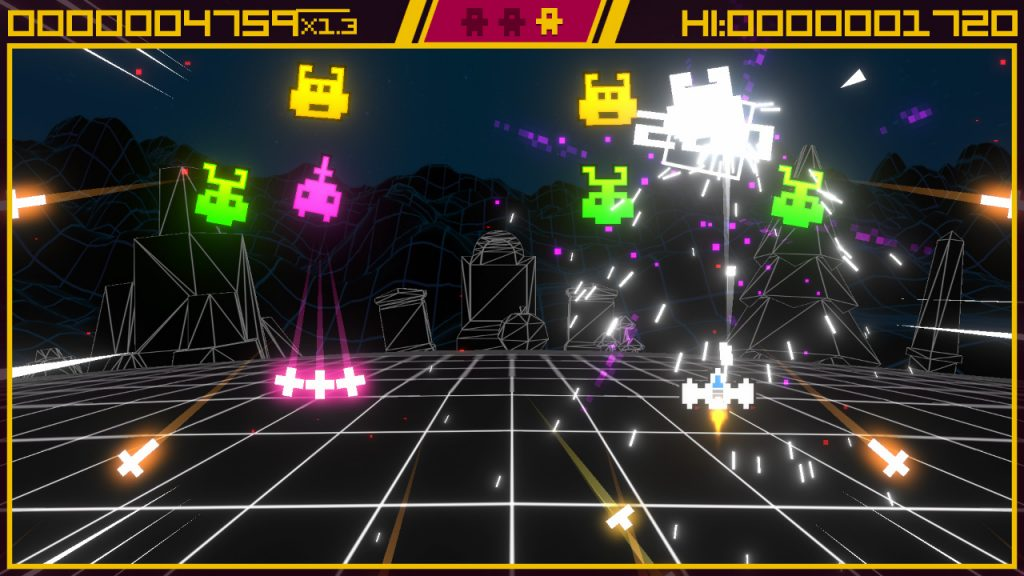 A screenshot from Super Destronaut DX2. An almost Factory Records yellow border surrounds a play area, the play area is a wireframe landscape with wireframe structures in the distance. At the forefront, waves of very colourful, very chunky simplistic pixel enemies are blown apart by the player's chunky rocket ship.