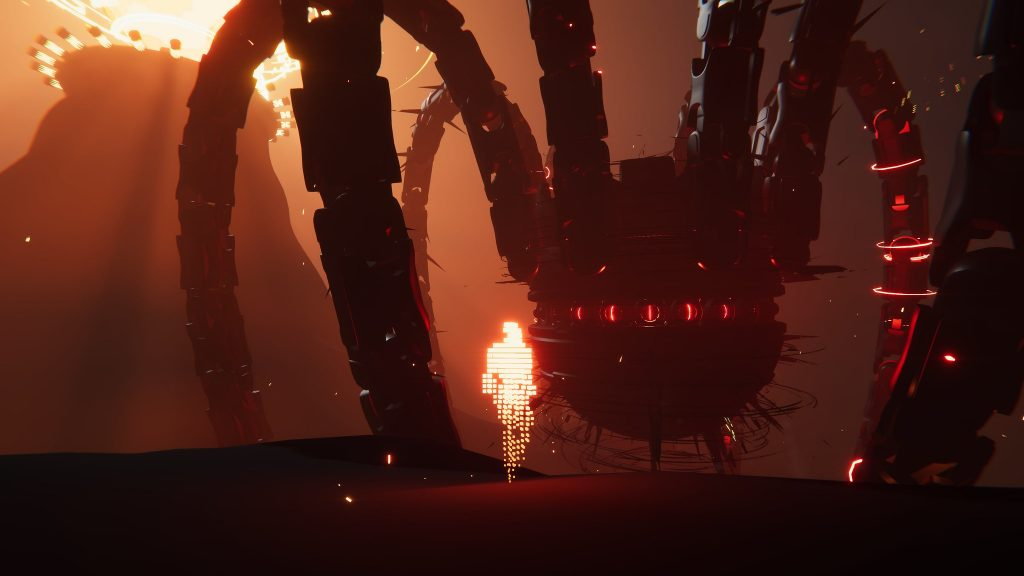 A screenshot from the game Recompile. A digital representation of a humanoid generated out of glowing particles faces off against an enormous, mechanical, Event Horizon looking spider thing. It seems to be taking place in a volcanic area, judging by the hue and limited scenery.