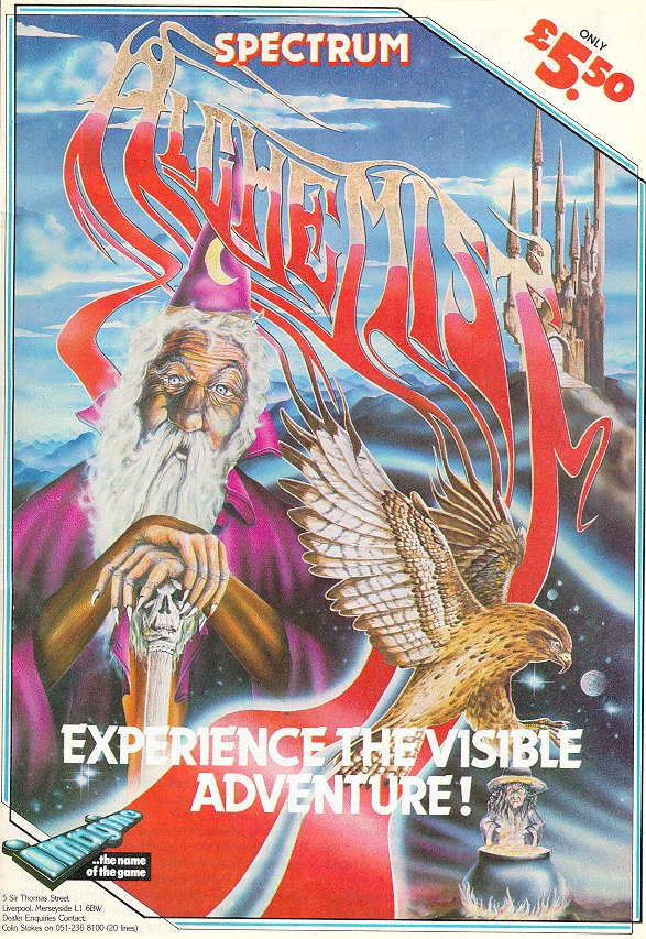 """It's the poster art for Alchemist. An old wizard in purple garb rests upon a sceptre with a skull on top, the logo is smeared across the screen like a prog rock album left to grow wild. There's also a massive golden eagle hovering over a witch and cauldron. The tagline says """"experience the visible adventure!"""""""