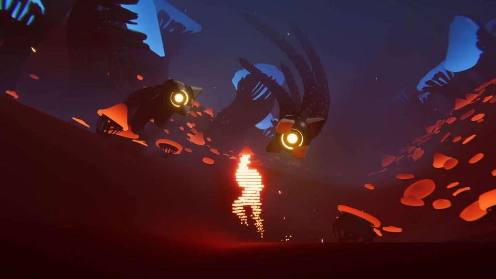 A screenshot from Recompile, a glowing player avatar runs through a minimal surreal environment whilst a pair of tentacled sentinels with glowing eyes float nearby.