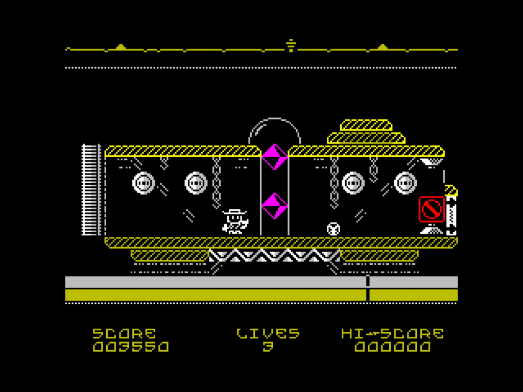Another screenshot from the game. This time we're looking at a yellow carriage, the player is inside close to some fetching purple diamonds. There's chains and balls and a display with a red warning sign.