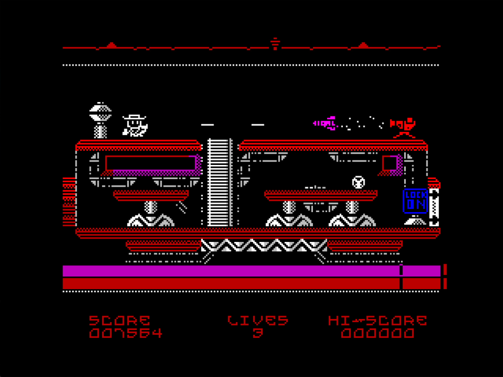 """It's a Speccy game so only a few colours and low res, right. But! It's a cowboy on top of a futuristic train firing at an incoming rocket. There's a ladder that goes into the train where some elaborate futuristic platforms (tables?) occupy space. A blue box reading """"lock on"""" is to the far right. It looks very good indeed."""