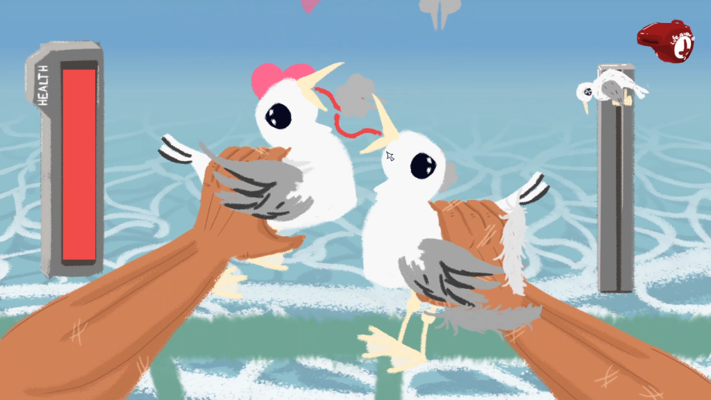 It's too roughly drawn seagulls, held by two hands, being made to kiss each other.