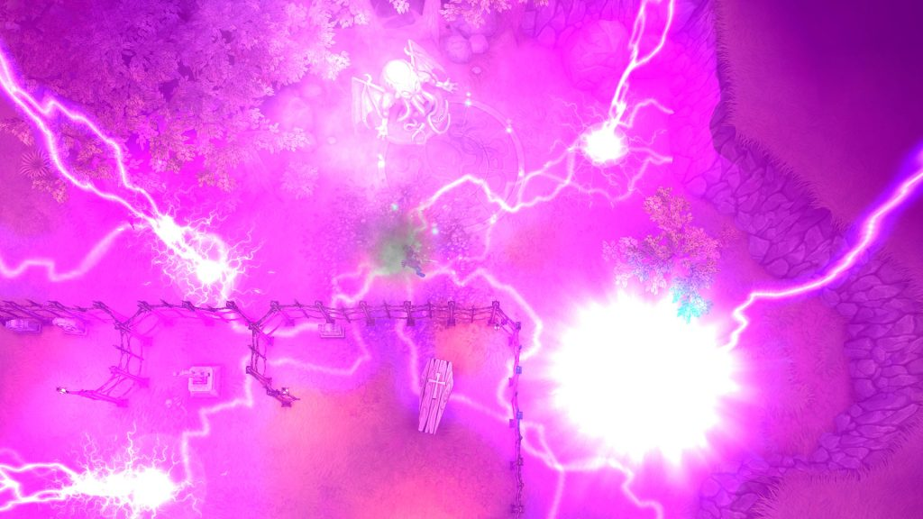 A very, very purple screenshot from Tesla Vs Lovecraft. Everything is exploding. In purple.