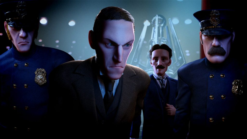 It's a caricature of HP 'Sauce' Lovecraft being carted off by the bizzies. Serves the racist git right. Tesla looks on with a fine moustache.