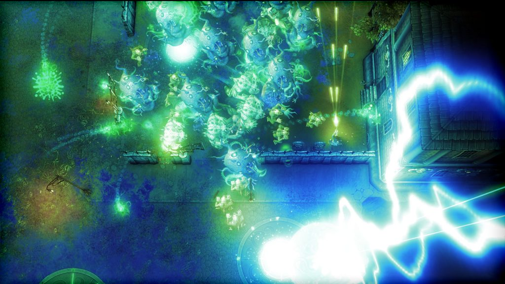 A screenshot from Lovecraft Vs Tesla. Tesla shoots his way through a massive amount of cosmic horrors as electricity tears through the environment.