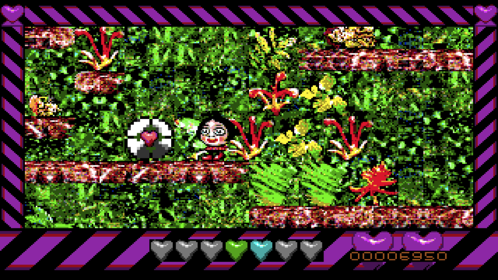 It's Top Banana. A purple and black striped border surrounds a mass of digital detritus masquerading as a videogame in the best possible glitch-aesthetic.
