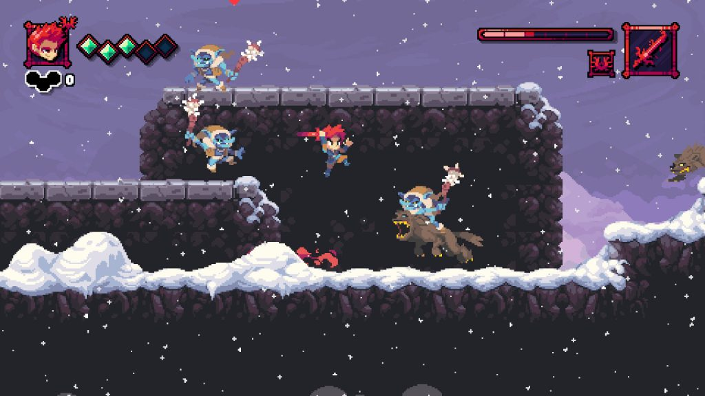 It's Flynn! This one is a bit Dead Cells with how the platforming arrangement looks. Goblins galore here and one is even riding something or other that doesn't look too friendly. Flynn is still leaping! He likes leaping.