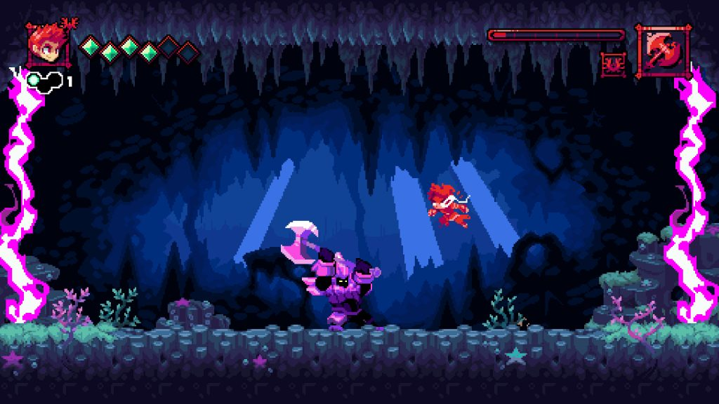 A screenshot from Flynn: Son Of Crimson. It's some absolutely gorgeous pixel art! A cave scene with purple lightning bolts blocking the exits either side. A rotund knight with a big axe meanders across the floor as the player leaps through the air.
